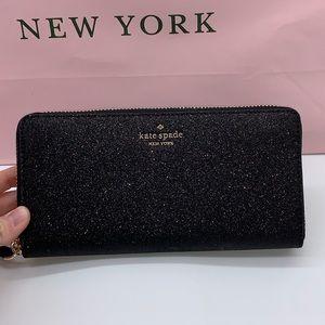 Kate Spade ♠️ Large Black Sparkle Wallet NWT!
